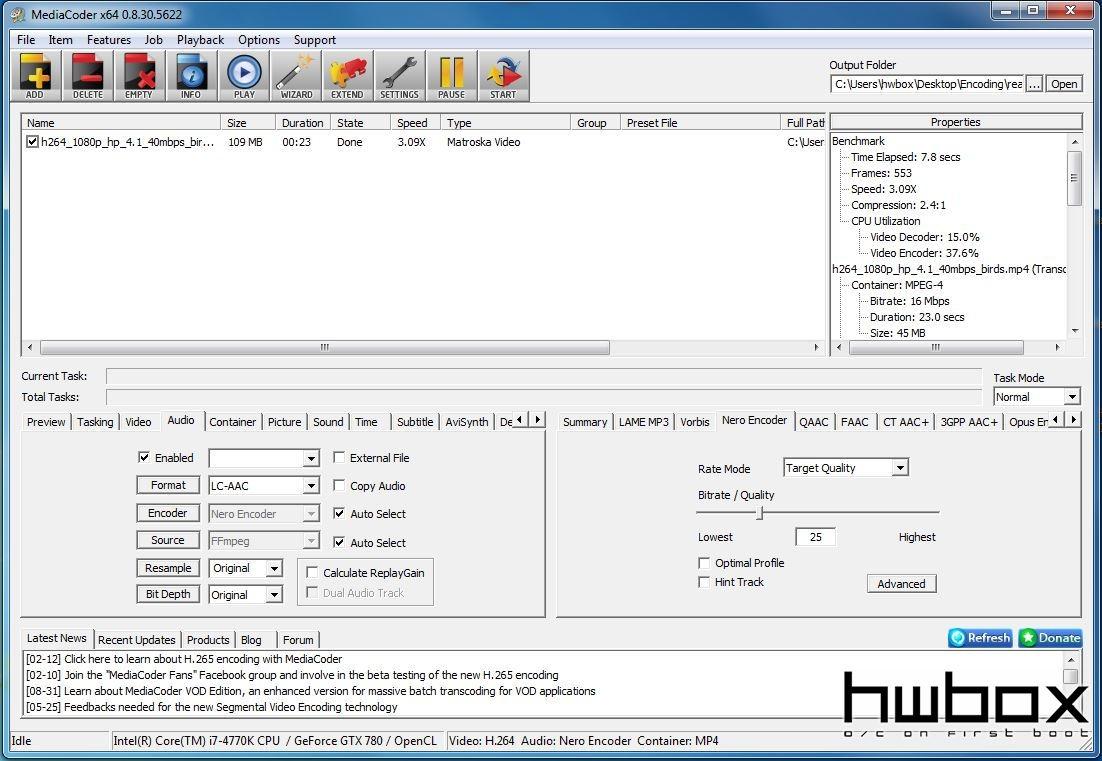 HwBox Guide: Κωδικοποίηση βίντεο (Quick Sync/CUDA/OCL)