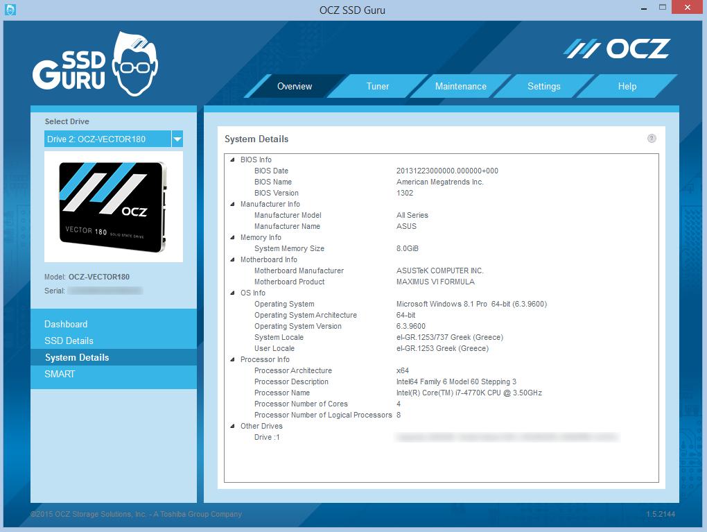 SSD Guru System Details